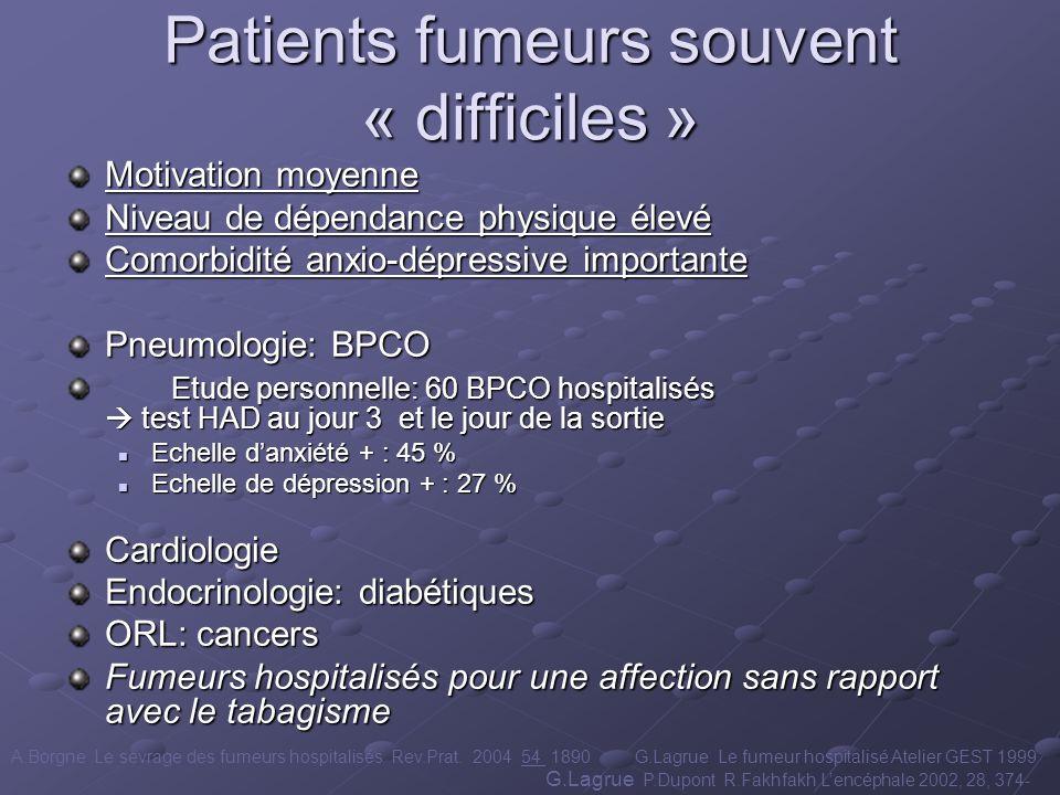 Patients fumeurs souvent « difficiles » Motivation moyenne Niveau de dépendance physique élevé Comorbidité anxio-dépressive importante Pneumologie: BP