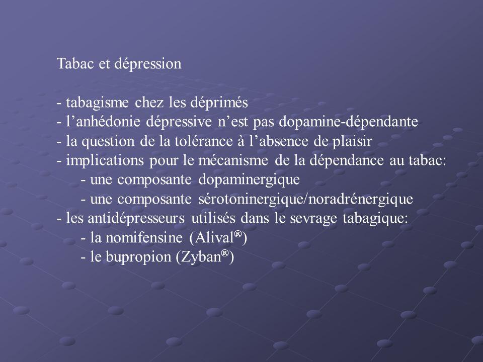 Tabac et dépression - tabagisme chez les déprimés - lanhédonie dépressive nest pas dopamine-dépendante - la question de la tolérance à labsence de pla