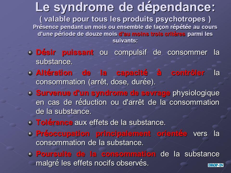Le syndrome de d é pendance: ( valable pour tous les produits psychotropes ) Pr é sence pendant un mois ou ensemble de fa ç on r é p é t é e au cours