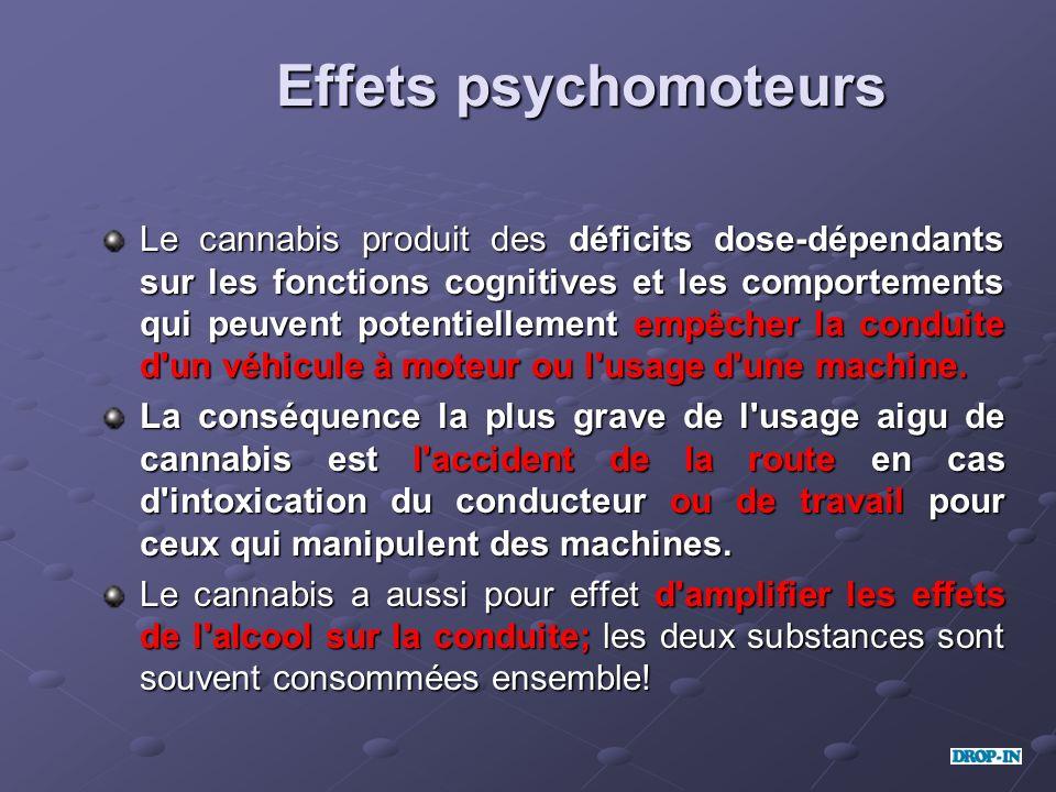 Effets psychomoteurs Le cannabis produit des déficits dose-dépendants sur les fonctions cognitives et les comportements qui peuvent potentiellement em