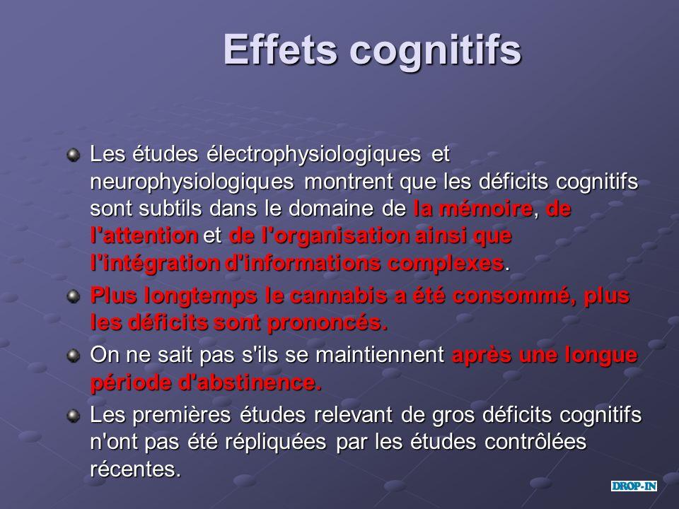 Effets cognitifs Les études électrophysiologiques et neurophysiologiques montrent que les déficits cognitifs sont subtils dans le domaine de la mémoir
