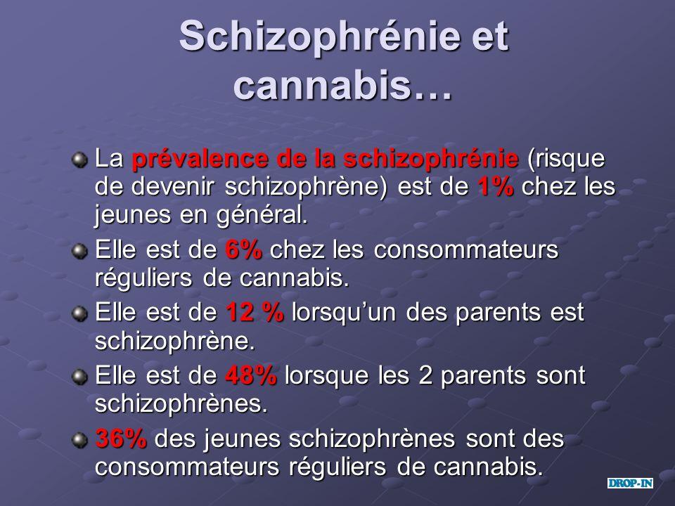 Schizophrénie et cannabis… La prévalence de la schizophrénie (risque de devenir schizophrène) est de 1% chez les jeunes en général. Elle est de 6% che