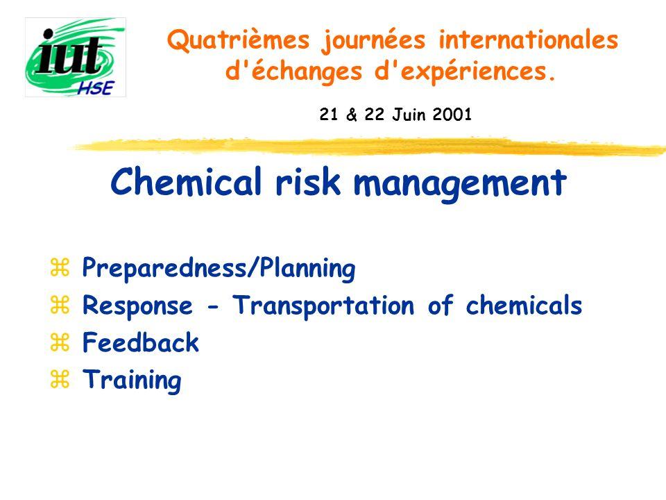 Chemical risk management Quatrièmes journées internationales d'échanges d'expériences. 21 & 22 Juin 2001 z Preparedness/Planning z Response - Transpor