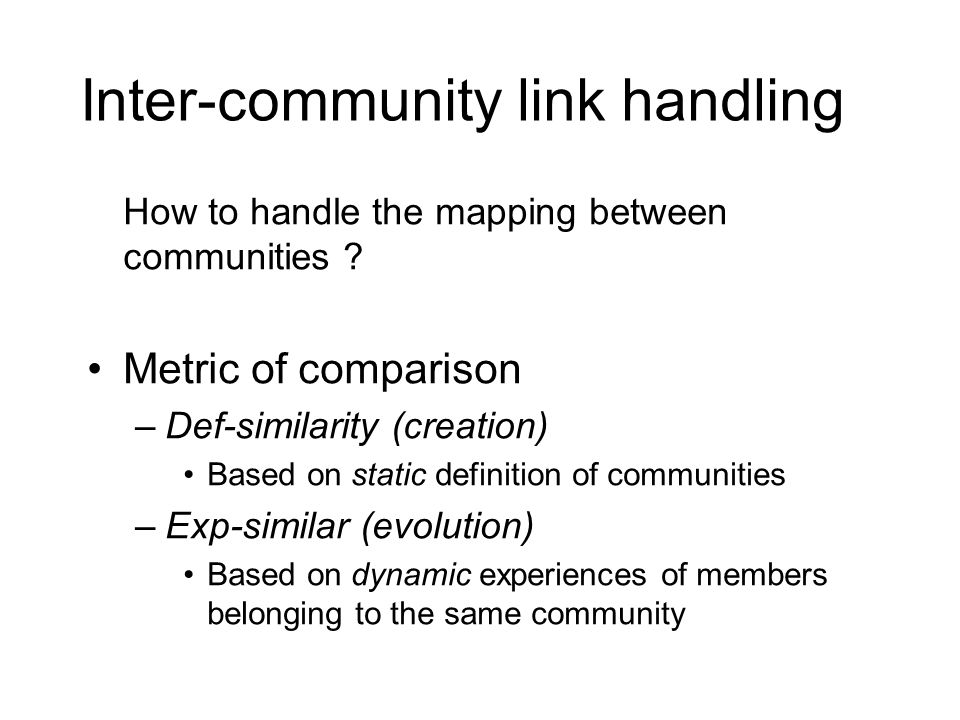 Inter-community link handling How to handle the mapping between communities .
