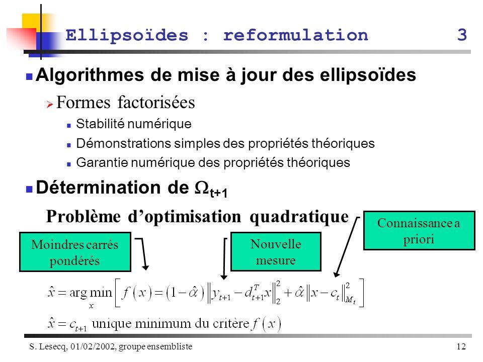 S. Lesecq, 01/02/2002, groupe ensembliste12 Ellipsoïdes : reformulation3 Algorithmes de mise à jour des ellipsoïdes Formes factorisées Stabilité numér