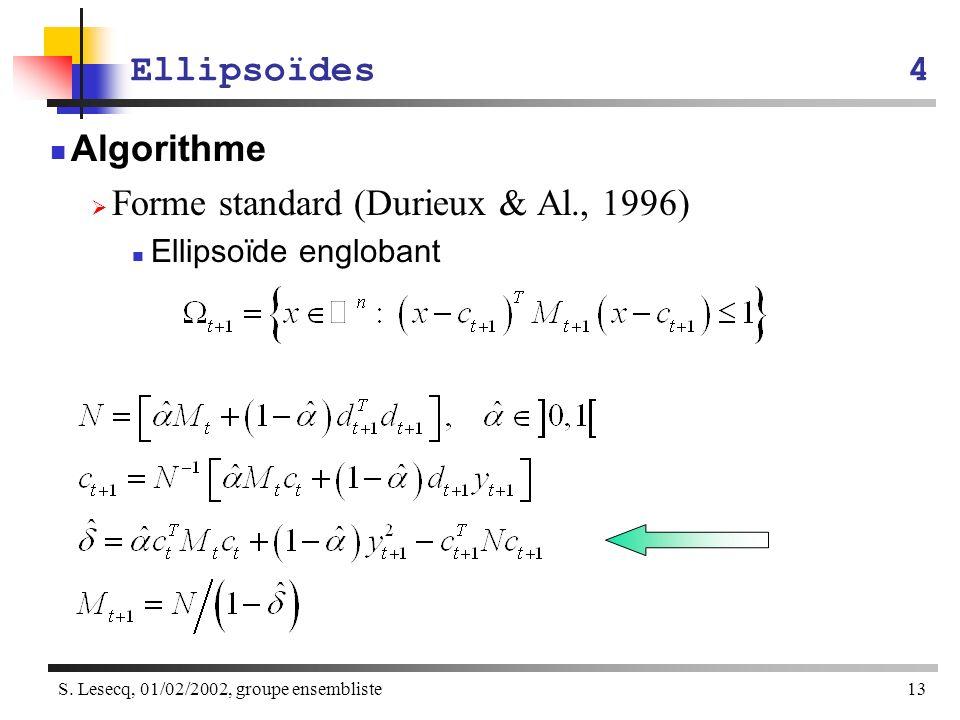 S. Lesecq, 01/02/2002, groupe ensembliste13 Ellipsoïdes4 Algorithme Forme standard (Durieux & Al., 1996) Ellipsoïde englobant