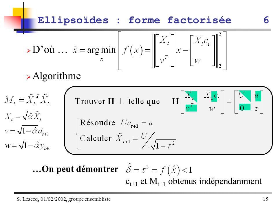 S. Lesecq, 01/02/2002, groupe ensembliste15 Doù … Algorithme …On peut démontrer c t+1 et M t+1 obtenus indépendamment Ellipsoïdes : forme factorisée6