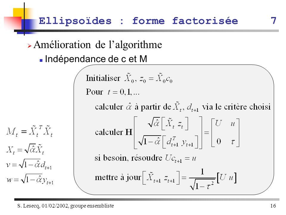 S. Lesecq, 01/02/2002, groupe ensembliste16 Amélioration de lalgorithme Indépendance de c et M Ellipsoïdes : forme factorisée7