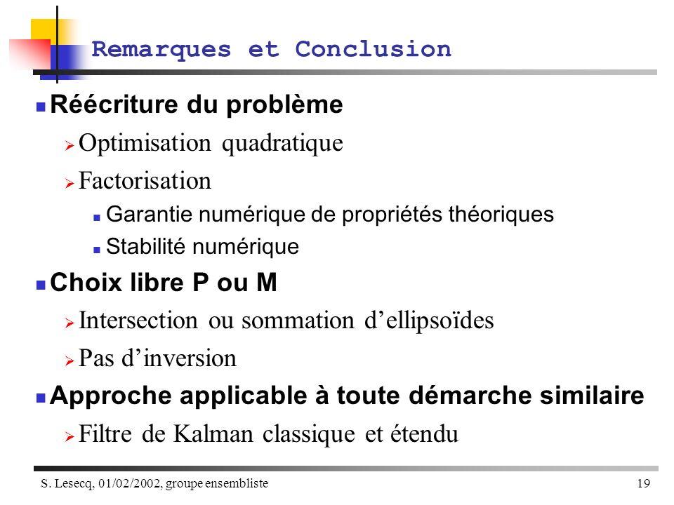 S. Lesecq, 01/02/2002, groupe ensembliste19 Remarques et Conclusion Réécriture du problème Optimisation quadratique Factorisation Garantie numérique d