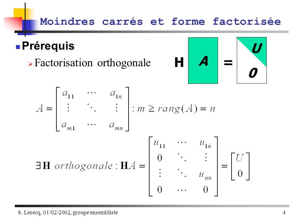 S. Lesecq, 01/02/2002, groupe ensembliste4 Moindres carrés et forme factorisée Prérequis Factorisation orthogonale A H = U 0
