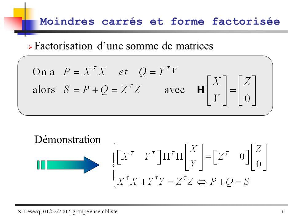 S. Lesecq, 01/02/2002, groupe ensembliste6 Factorisation dune somme de matrices Démonstration Moindres carrés et forme factorisée