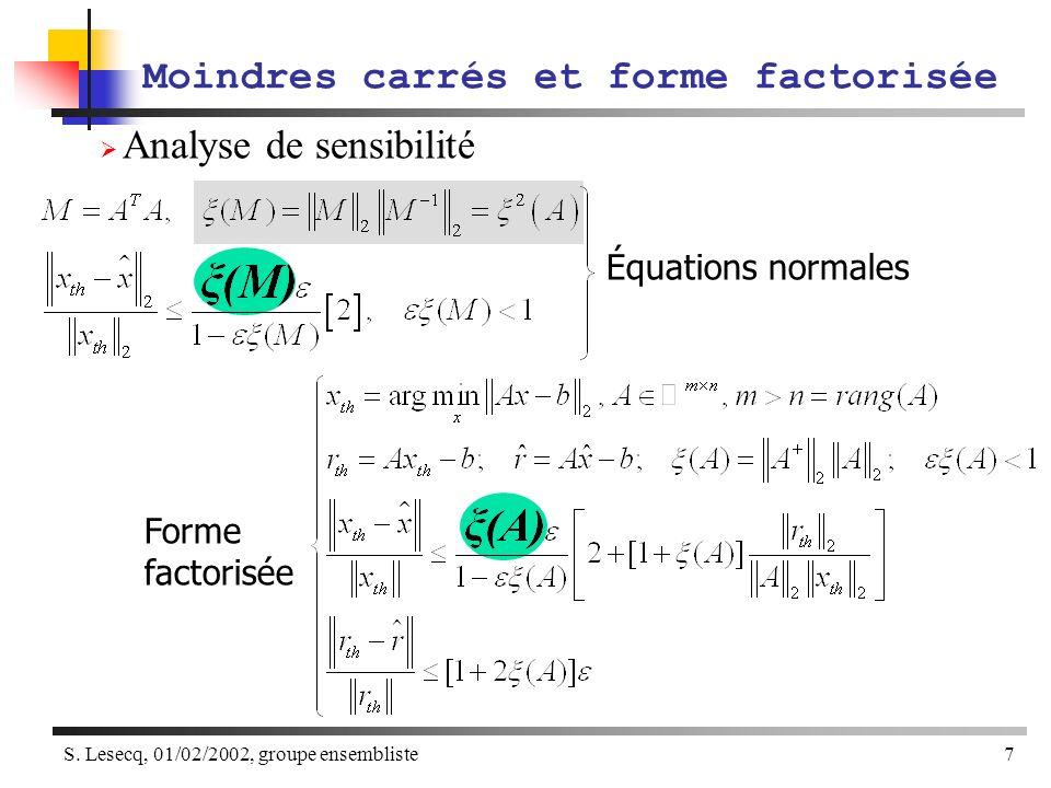 S. Lesecq, 01/02/2002, groupe ensembliste7 Analyse de sensibilité Moindres carrés et forme factorisée Équations normales Forme factorisée