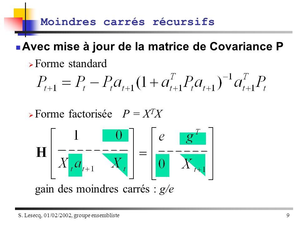 S. Lesecq, 01/02/2002, groupe ensembliste9 Moindres carrés récursifs Avec mise à jour de la matrice de Covariance P Forme standard Forme factorisée P