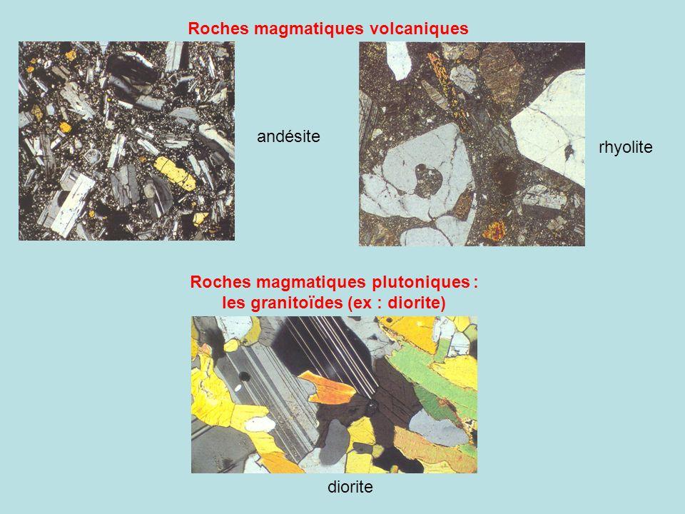 rhyolite Roches magmatiques plutoniques : les granitoïdes (ex : diorite) Roches magmatiques volcaniques andésite diorite