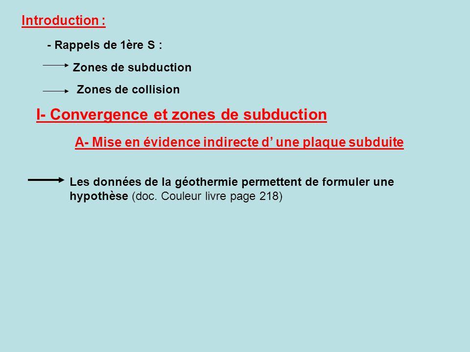 Introduction : - Rappels de 1ère S : I- Convergence et zones de subduction Les données de la géothermie permettent de formuler une hypothèse (doc. Cou
