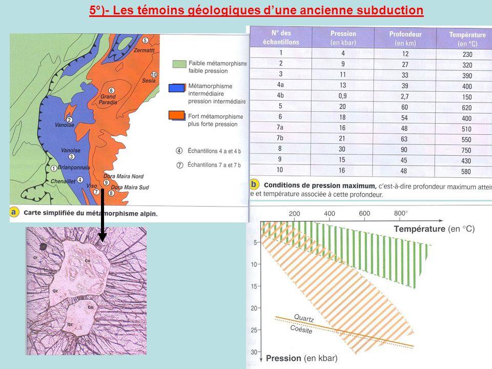 5°)- Les témoins géologiques dune ancienne subduction