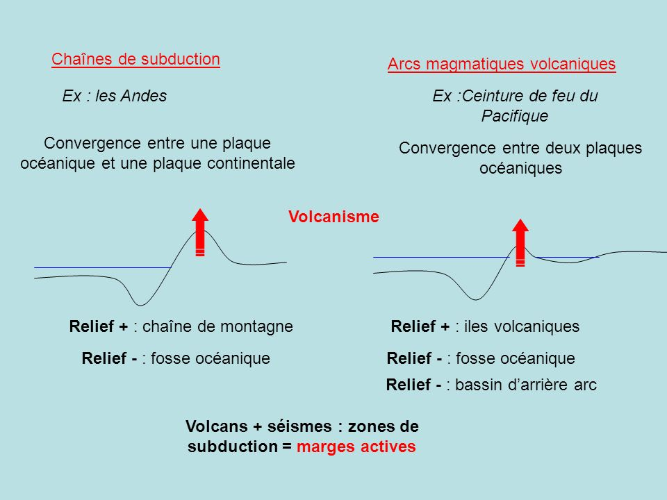 Chaînes de subduction Ex : les Andes Convergence entre une plaque océanique et une plaque continentale Convergence entre deux plaques océaniques Ex :C