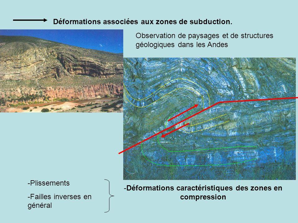 Déformations associées aux zones de subduction. Observation de paysages et de structures géologiques dans les Andes -Plissements -Failles inverses en