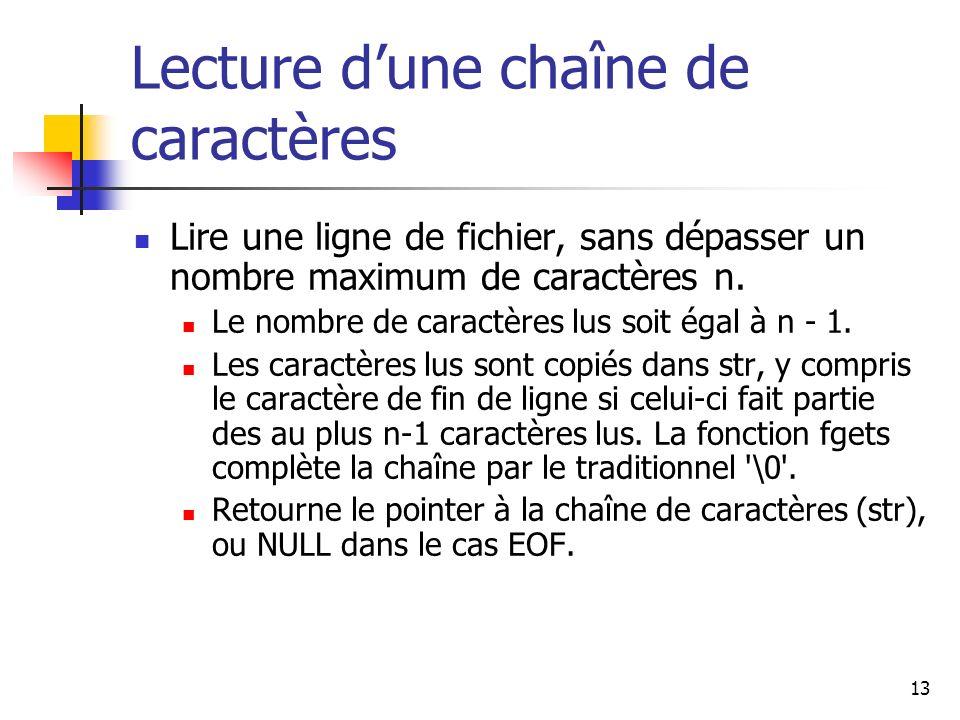 13 Lecture dune chaîne de caractères Lire une ligne de fichier, sans dépasser un nombre maximum de caractères n. Le nombre de caractères lus soit égal