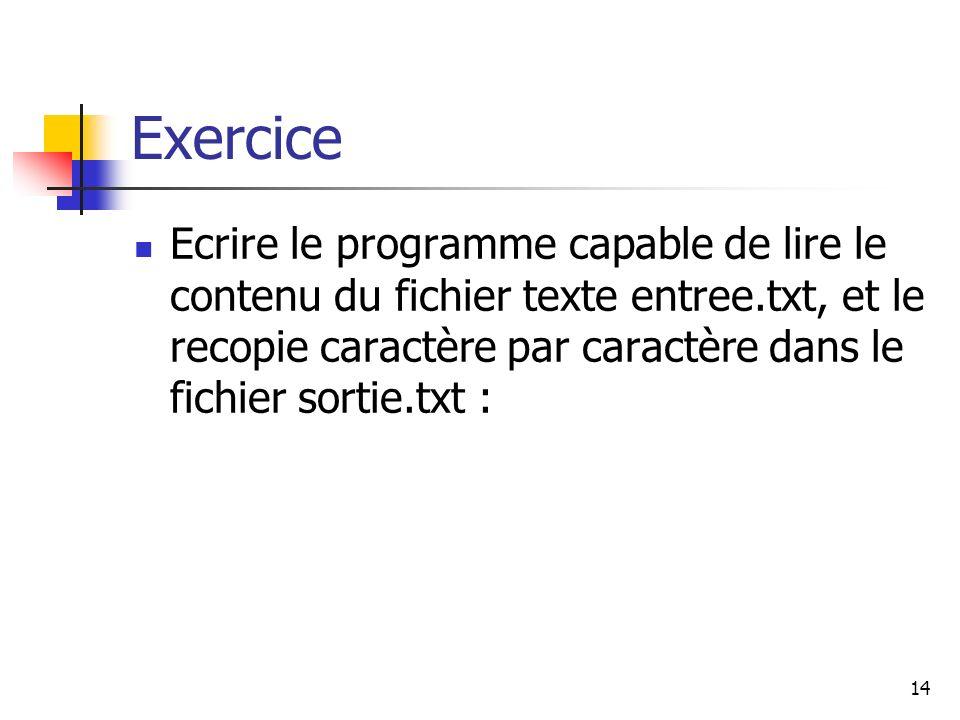 14 Exercice Ecrire le programme capable de lire le contenu du fichier texte entree.txt, et le recopie caractère par caractère dans le fichier sortie.t