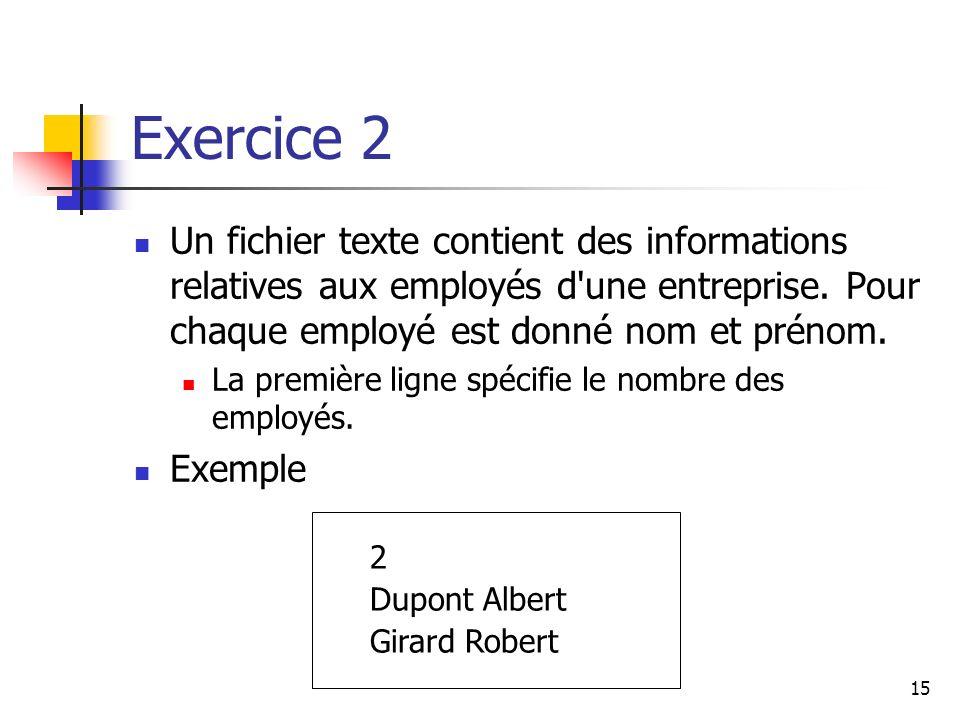15 Exercice 2 Un fichier texte contient des informations relatives aux employés d'une entreprise. Pour chaque employé est donné nom et prénom. La prem