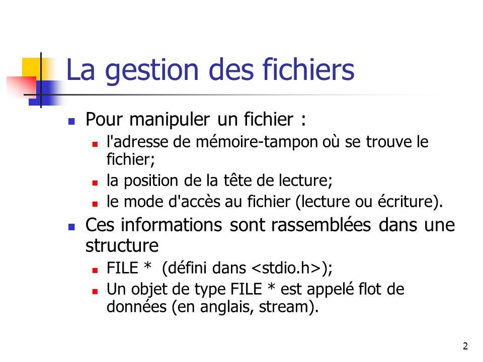 2 La gestion des fichiers Pour manipuler un fichier : l'adresse de mémoire-tampon où se trouve le fichier; la position de la tête de lecture; le mode
