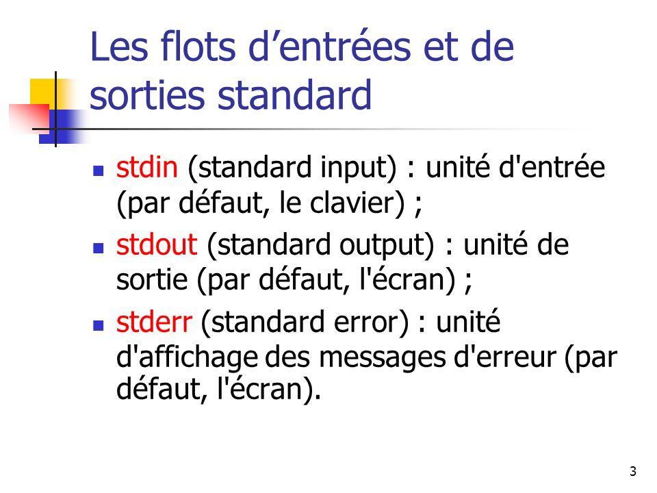3 Les flots dentrées et de sorties standard stdin (standard input) : unité d'entrée (par défaut, le clavier) ; stdout (standard output) : unité de sor
