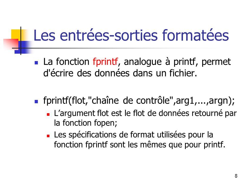 8 Les entrées-sorties formatées La fonction fprintf, analogue à printf, permet d'écrire des données dans un fichier. fprintf(flot,