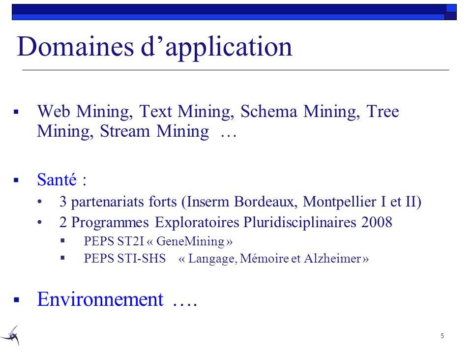 Domaines dapplication Web Mining, Text Mining, Schema Mining, Tree Mining, Stream Mining … Santé : 3 partenariats forts (Inserm Bordeaux, Montpellier