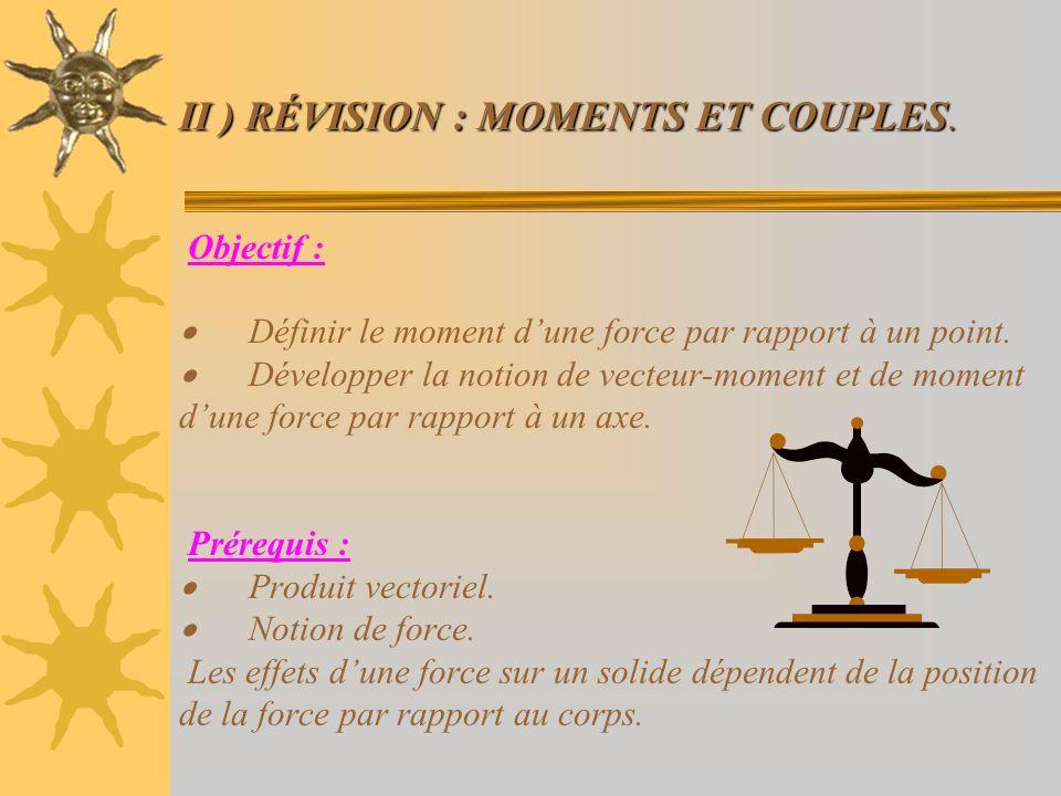 II ) RÉVISION : MOMENTS ET COUPLES. II ) RÉVISION : MOMENTS ET COUPLES. Objectif : Définir le moment dune force par rapport à un point. Développer la