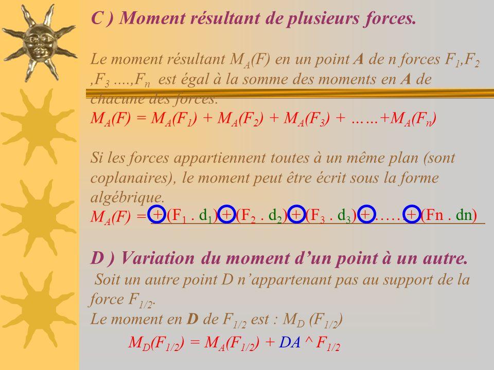 C ) Moment résultant de plusieurs forces. Le moment résultant M A (F) en un point A de n forces F 1,F 2,F 3....,F n est égal à la somme des moments en