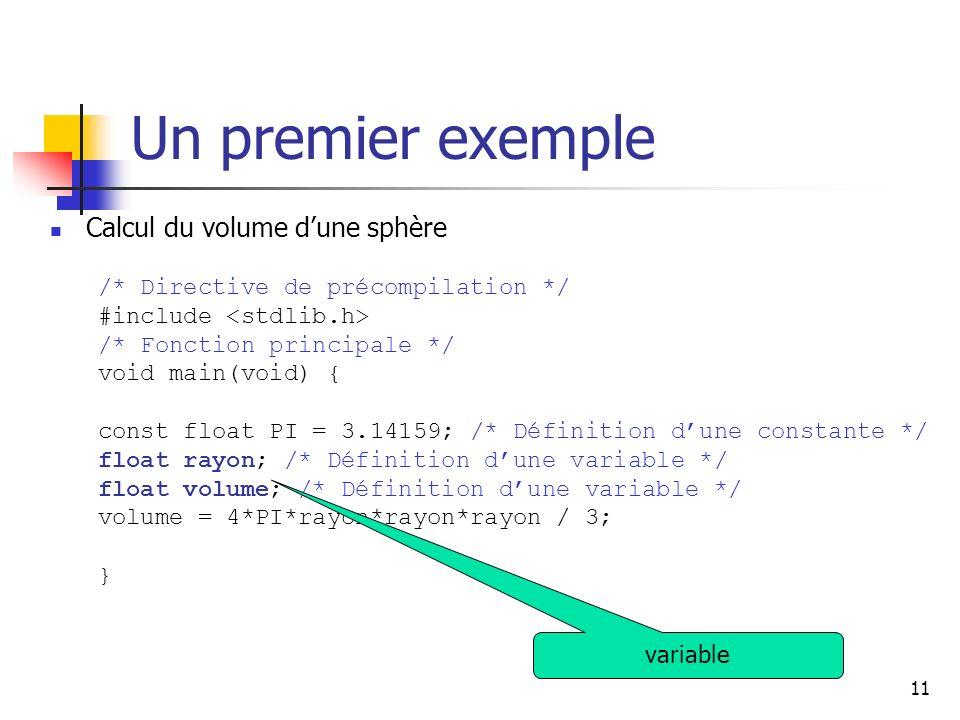 11 Un premier exemple Calcul du volume dune sphère /* Directive de précompilation */ #include /* Fonction principale */ void main(void) { const float PI = 3.14159; /* Définition dune constante */ float rayon; /* Définition dune variable */ float volume; /* Définition dune variable */ volume = 4*PI*rayon*rayon*rayon / 3; } variable