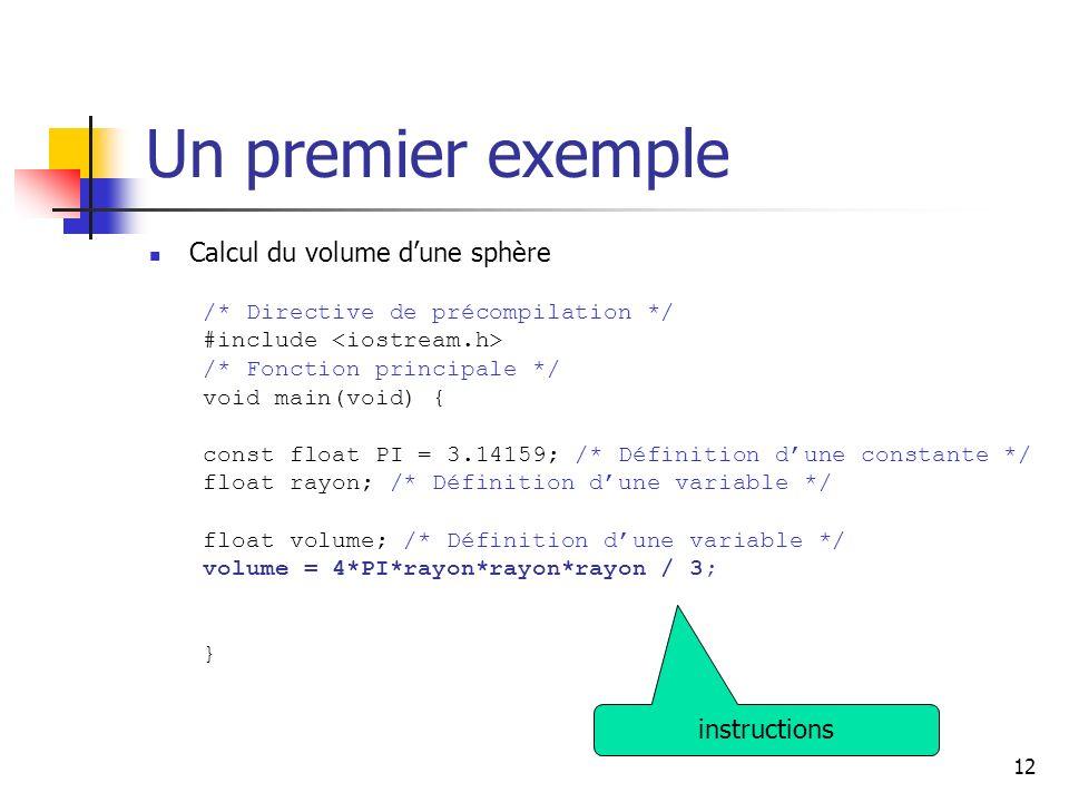 12 Un premier exemple Calcul du volume dune sphère /* Directive de précompilation */ #include /* Fonction principale */ void main(void) { const float PI = 3.14159; /* Définition dune constante */ float rayon; /* Définition dune variable */ float volume; /* Définition dune variable */ volume = 4*PI*rayon*rayon*rayon / 3; } instructions