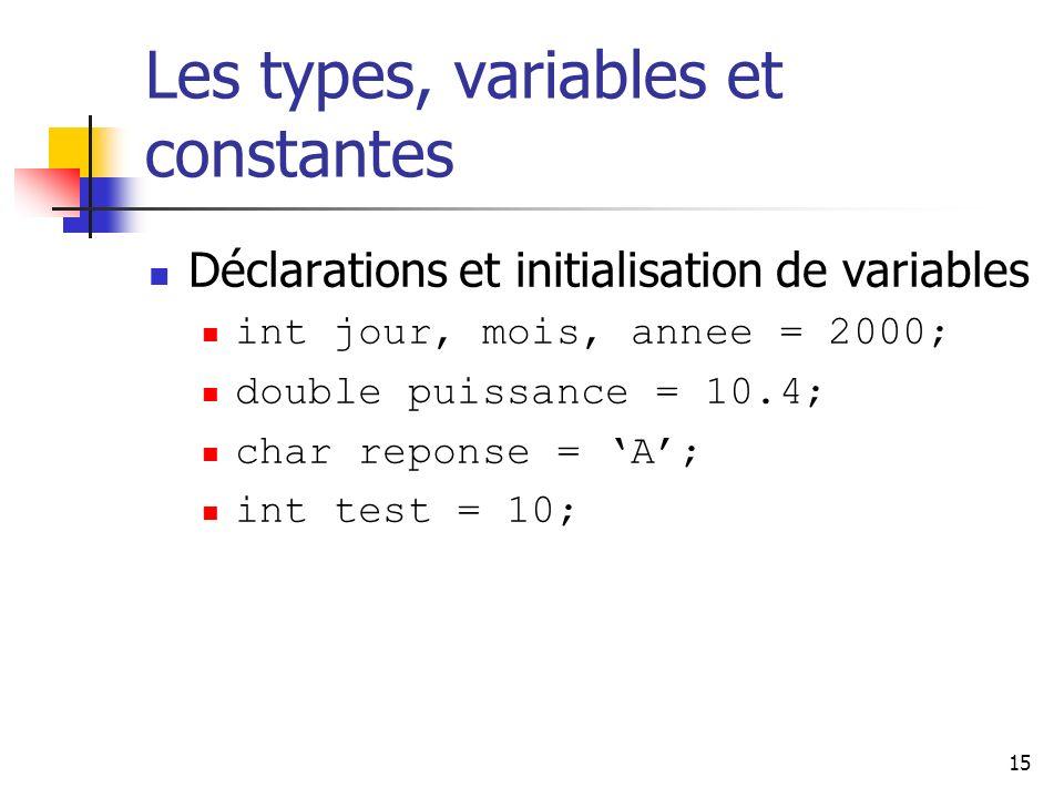 15 Les types, variables et constantes Déclarations et initialisation de variables int jour, mois, annee = 2000; double puissance = 10.4; char reponse = A; int test = 10;