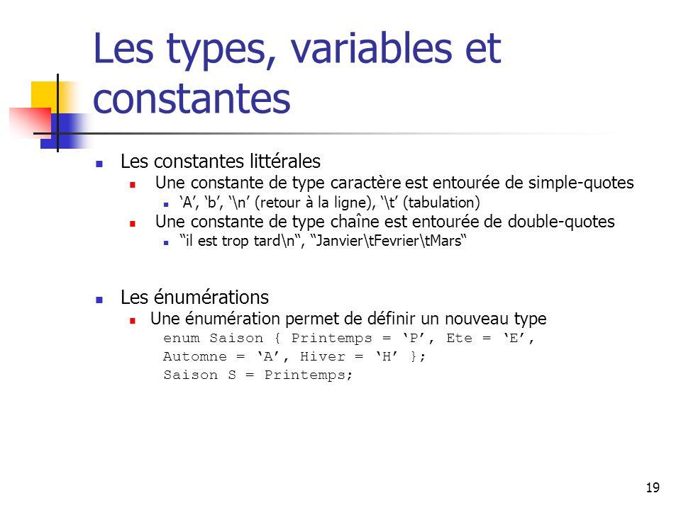 19 Les types, variables et constantes Les constantes littérales Une constante de type caractère est entourée de simple-quotes A, b, \n (retour à la ligne), \t (tabulation) Une constante de type chaîne est entourée de double-quotes il est trop tard\n, Janvier\tFevrier\tMars Les énumérations Une énumération permet de définir un nouveau type enum Saison { Printemps = P, Ete = E, Automne = A, Hiver = H }; Saison S = Printemps;