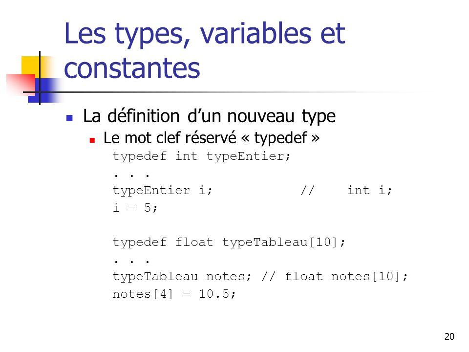 20 Les types, variables et constantes La définition dun nouveau type Le mot clef réservé « typedef » typedef int typeEntier;...