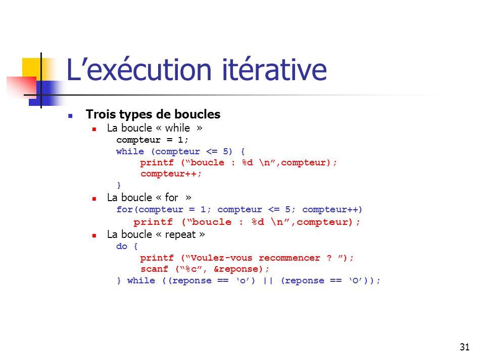 31 Lexécution itérative Trois types de boucles La boucle « while » compteur = 1; while (compteur <= 5) { printf (boucle : %d \n,compteur); compteur++; } La boucle « for » for(compteur = 1; compteur <= 5; compteur++) printf (boucle : %d \n,compteur); La boucle « repeat » do { printf (Voulez-vous recommencer .