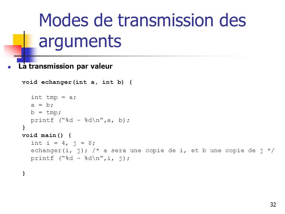 32 Modes de transmission des arguments La transmission par valeur void echanger(int a, int b) { int tmp = a; a = b; b = tmp; printf (%d - %d\n,a, b); } void main() { int i = 4, j = 8; echanger(i, j); /* a sera une copie de i, et b une copie de j */ printf (%d - %d\n,i, j); }