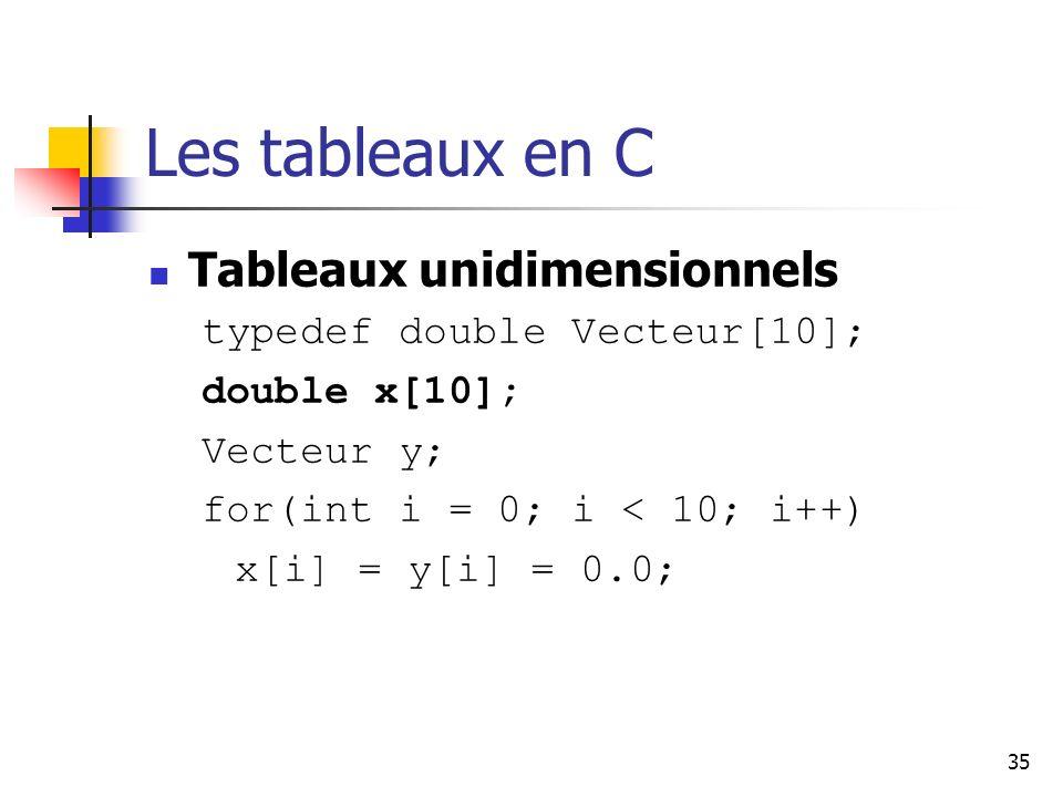 35 Les tableaux en C Tableaux unidimensionnels typedef double Vecteur[10]; double x[10]; Vecteur y; for(int i = 0; i < 10; i++) x[i] = y[i] = 0.0;