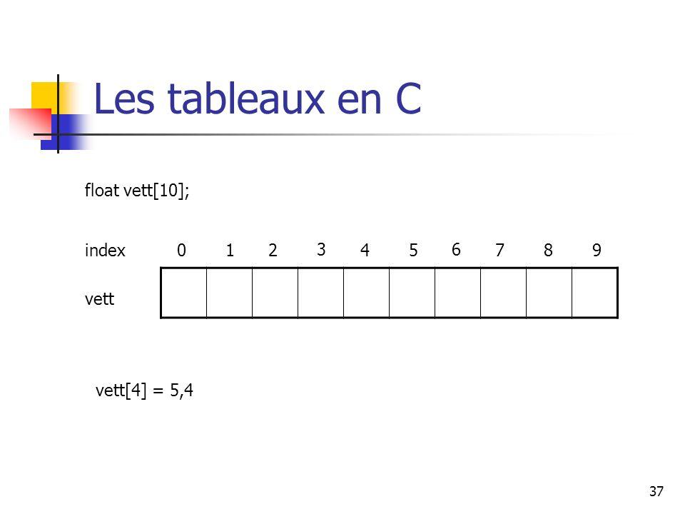 37 Les tableaux en C index012 3 45 6 789 float vett[10]; vett vett[4] = 5,4
