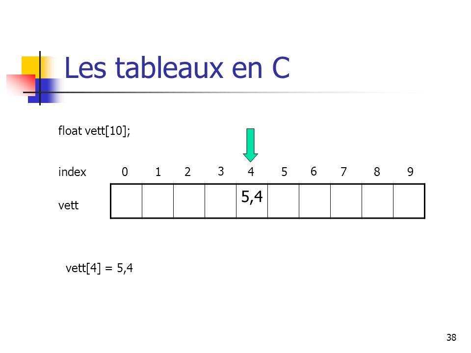 38 Les tableaux en C 5,4 index012 3 45 6 789 float vett[10]; vett vett[4] = 5,4