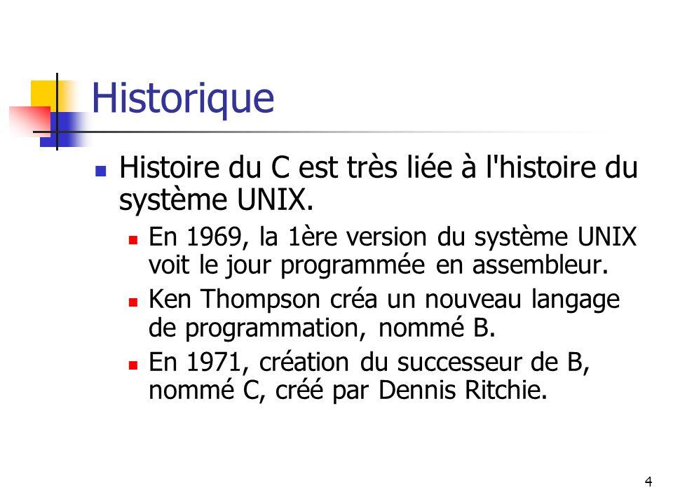 4 Historique Histoire du C est très liée à l histoire du système UNIX.