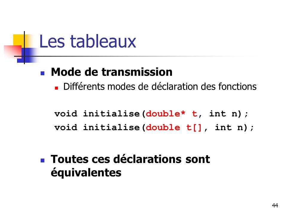 44 Les tableaux Mode de transmission Différents modes de déclaration des fonctions void initialise(double* t, int n); void initialise(double t[], int n); Toutes ces déclarations sont équivalentes
