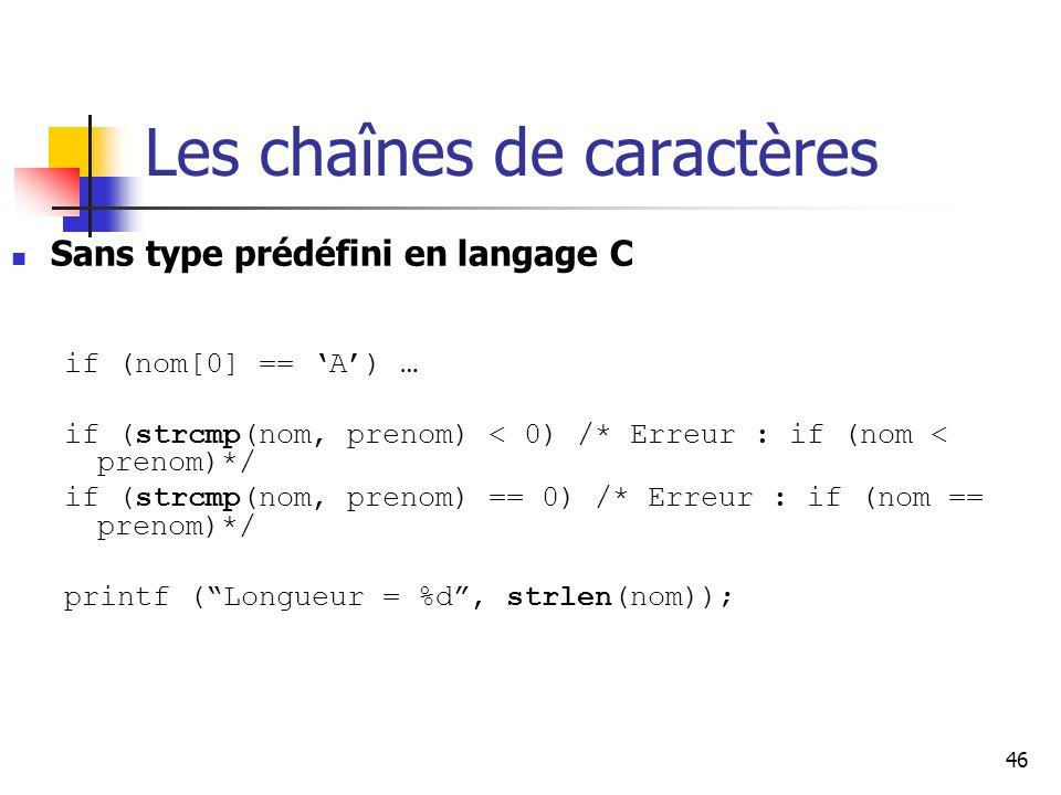 46 Les chaînes de caractères Sans type prédéfini en langage C if (nom[0] == A) … if (strcmp(nom, prenom) < 0) /* Erreur : if (nom < prenom)*/ if (strcmp(nom, prenom) == 0) /* Erreur : if (nom == prenom)*/ printf (Longueur = %d, strlen(nom));