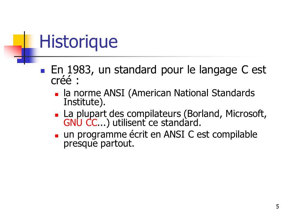 5 Historique En 1983, un standard pour le langage C est créé : la norme ANSI (American National Standards Institute).