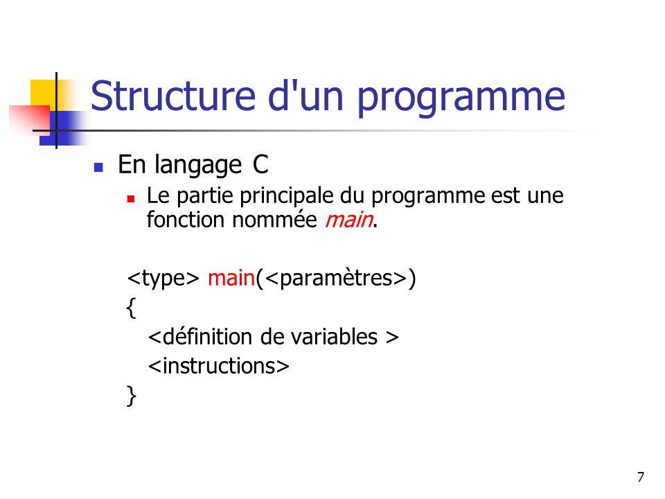 7 Structure d un programme En langage C Le partie principale du programme est une fonction nommée main.
