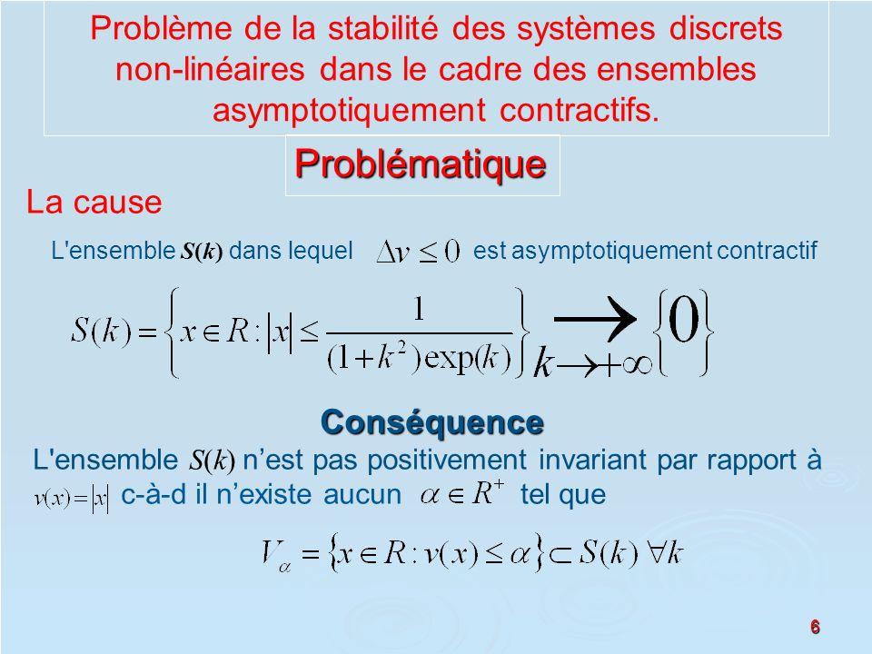 6 Problème de la stabilité des systèmes discrets non-linéaires dans le cadre des ensembles asymptotiquement contractifs. La cause L'ensemble S(k) dans