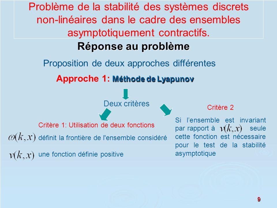 9 Réponse au problème Proposition de deux approches différentes Méthode de Lyapunov Approche 1: Méthode de Lyapunov Deux critères Critère 1: Utilisati