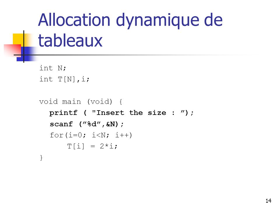 14 Allocation dynamique de tableaux int N; int T[N],i; void main (void) { printf (