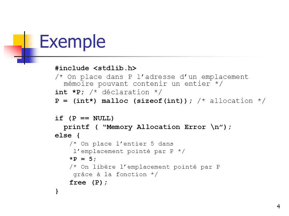 4 Exemple #include /* On place dans P ladresse dun emplacement mémoire pouvant contenir un entier */ int *P; /* déclaration */ P = (int*) malloc (size